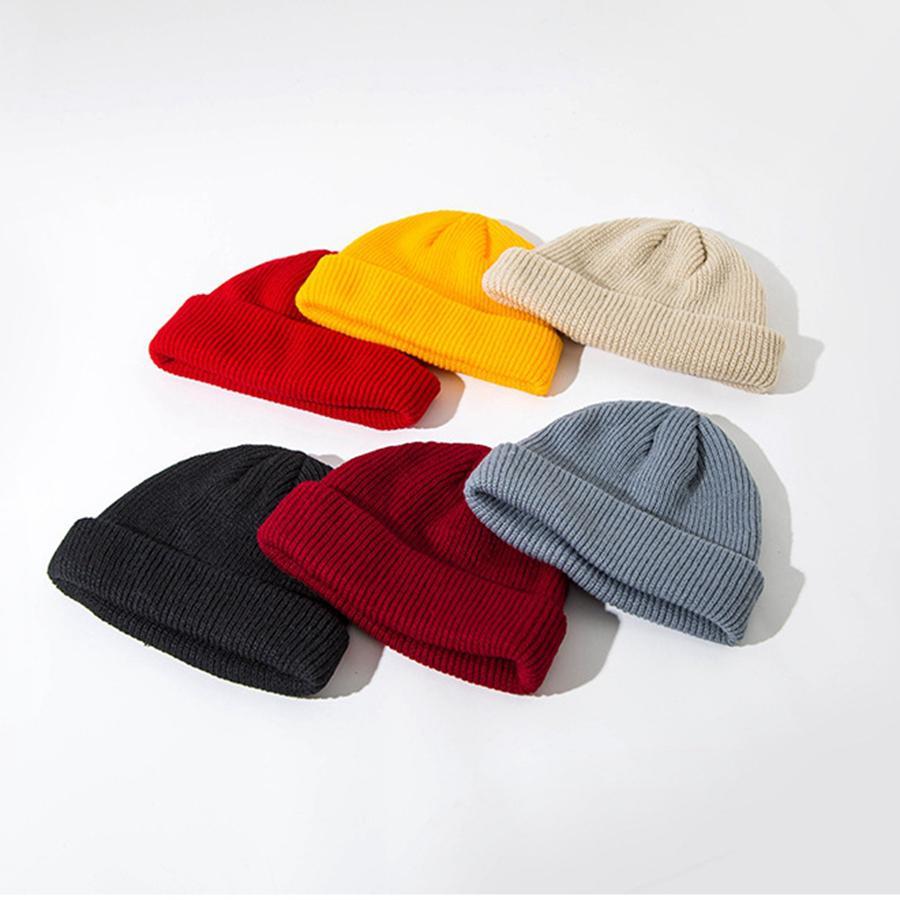 Knitted Hat Unisex Retro Hats Skullcap Autumn Winter Warm Men Short Wool Cap Women Simple Beanies Dome sea shipping LLA265