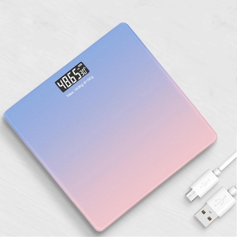 Smart Body Poids Balance Gradients Couleur Échelle de salle de bain Écailles Écailles Verre LED Bain numérique Pesée Balances de pesée USB Charge