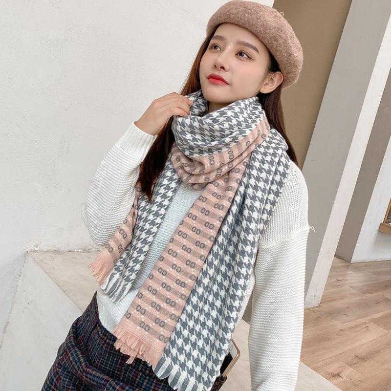 Royalmaybe écharpe femmes automne et de la mode hiver 2020 nouveau chaud épais foulard à carreaux châle houndstooth