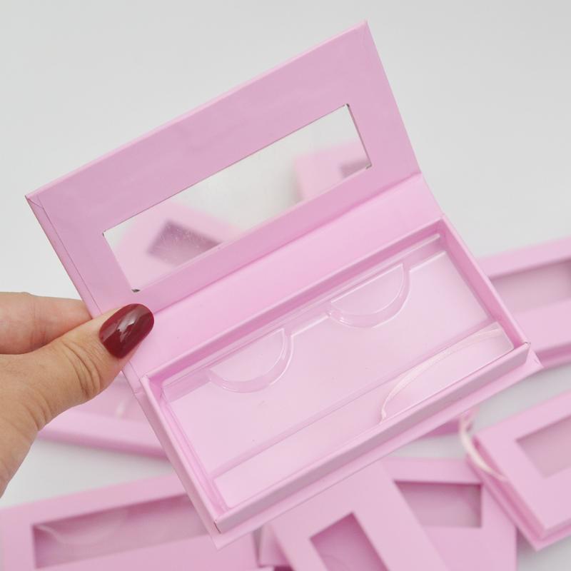 Wholesale false eyelash packaging box makeup lash boxes package faux cils 25mm mink lashes strip magnetic pink case bulk vendors