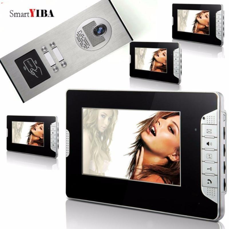 SmartYIBA Главная видеодомофон 7-дюймовый видео-телефон двери Дверной перезвон двери Система управления RFID доступа для 4 единицы квартиры