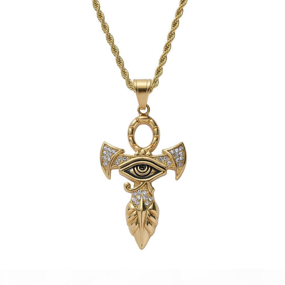 Croix égyptienne Ankh Collier pendentif pour femmes hommes couleur d'or en acier inoxydable Oeil d'Horus Collier Glacé Bijoux bling Egypte