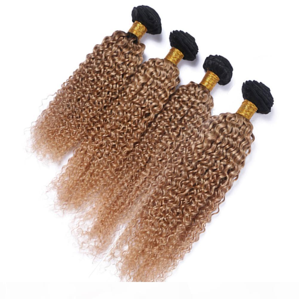 Virgin Peruvian Honey Blonde Ombre Humbe Treeve Treft Extensions Kinky Curly # 1b 27 Brown Light Brown Ombre Capelli Umani Tessuti Bundles 4 Pz Lotto