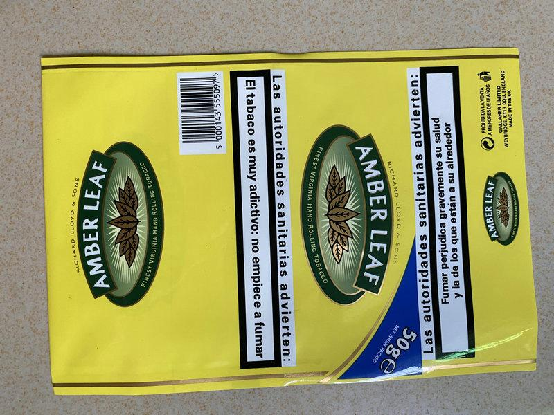 Marca del Reino Unido Caja de cigarrillos Fumar tabaco ámbar Paquete de hojas de hoja de cigarrillos Tabaco 500 g = 10Paquetas / lote Boxers de plástico Drum Tobacco Pagado Duty