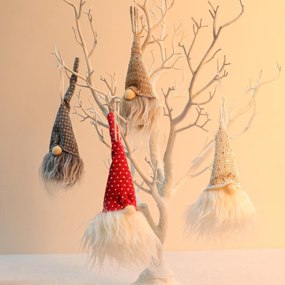 Novo Decorações de Natal Floresta Ancião com luminária Faceless boneca Luminous pequeno pingente ornamento HHA2211