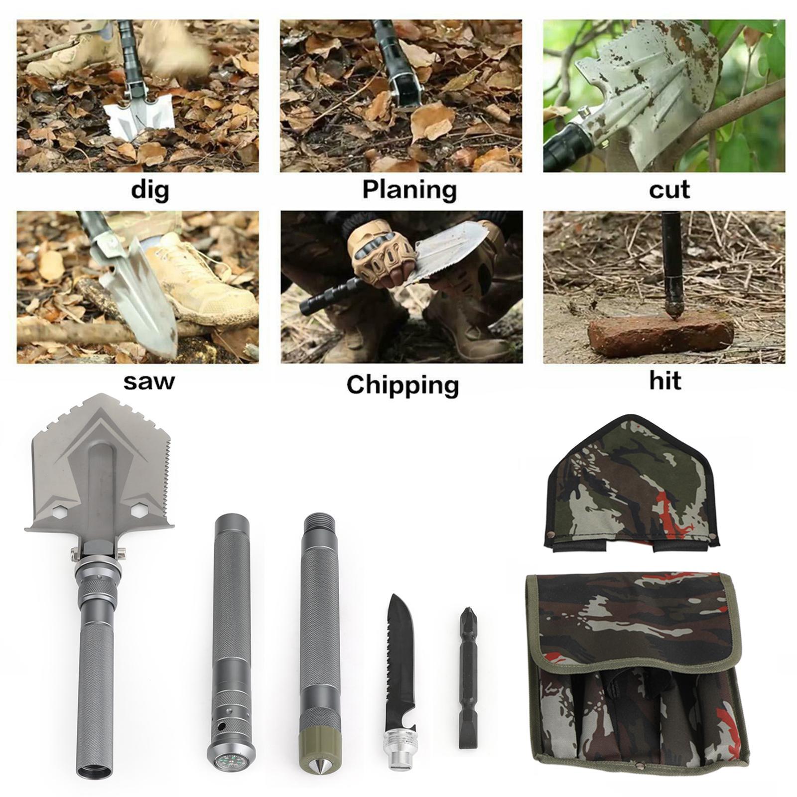 ABD Hisse Senedi Katlanır Kürekler Kamp Survival Spade Kürek Seti Fit Yürüyüş Avcılık Taktik Ekipman Aksesuarları Parçaları