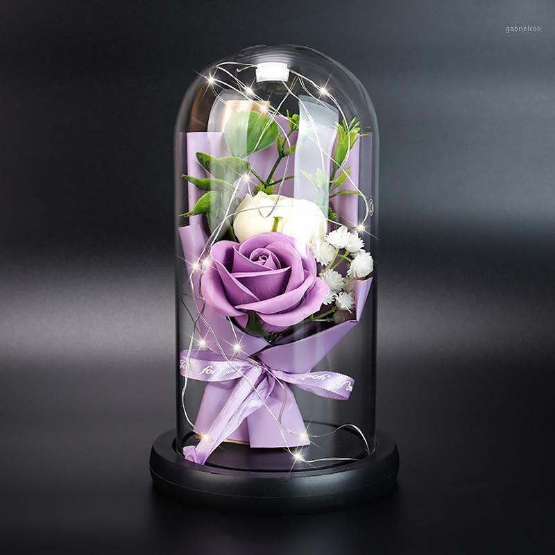 Светодиодная роза цветок искусственная вечная роза подарочная коробка со стеклянной крышкой светодиодный свет подарок на день Святого Валентина годовщина1