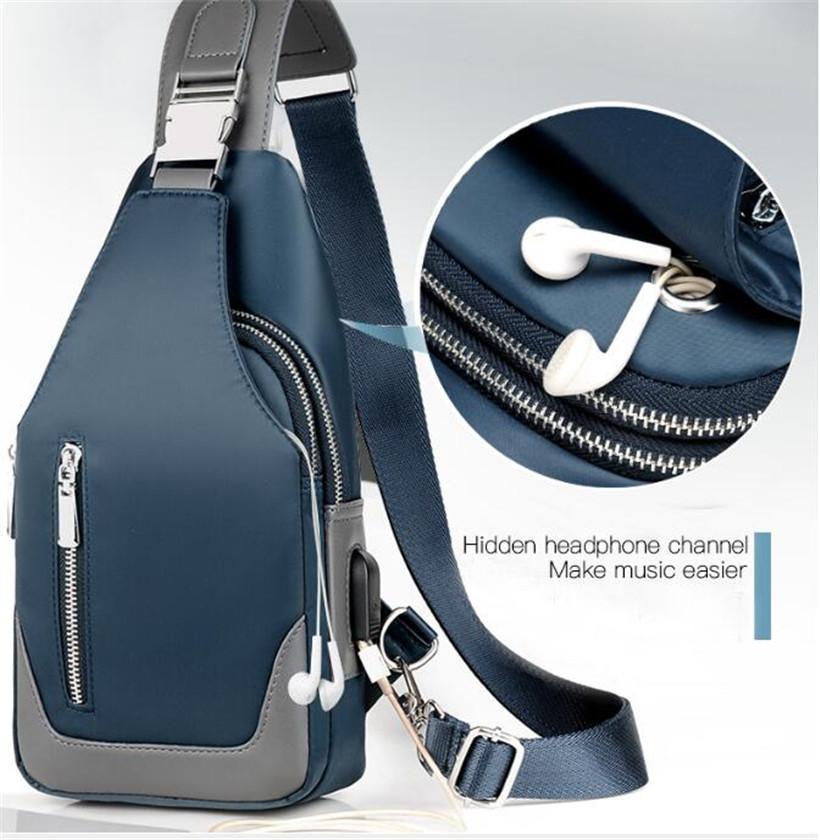 2020 do New Men Messenger Bag ombro pano Oxford Peito Bolsa Crossbody Casual Messenger Bags Homem de carregamento USB Multifuncional Handbag
