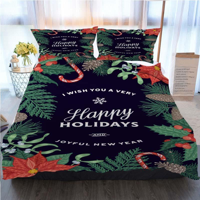 Noel Yatak 3 Adet Nevresim El Noel Kart ile Geleneksel Ev Lüks Yumuşak Yorgan Yorgan Kapak İkiz çizin ayarlar