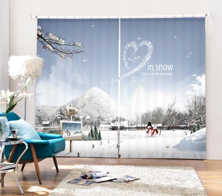 Babson Snow View Любовь Украшение 3D Цифровая печатная Занавес DIY Занавес Усовершенствованный пользовательский фото1