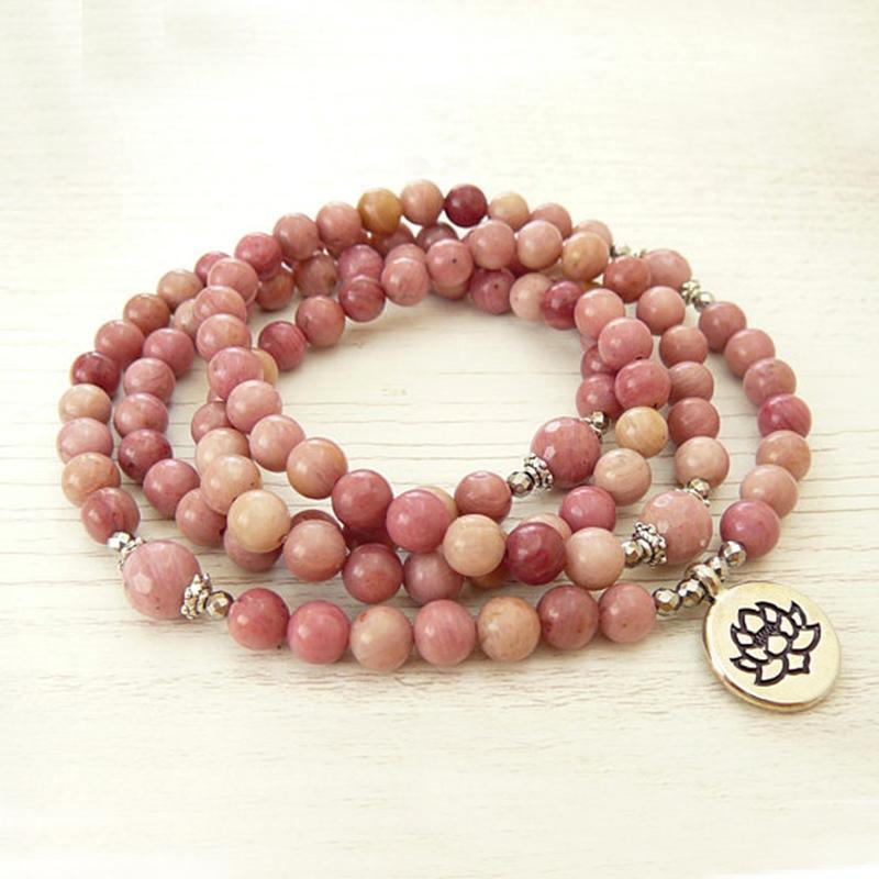 Yoga jóias meditação meditação energia pulseira rosa grânulos 108 pulseira de rhodonnite mala ou colar1