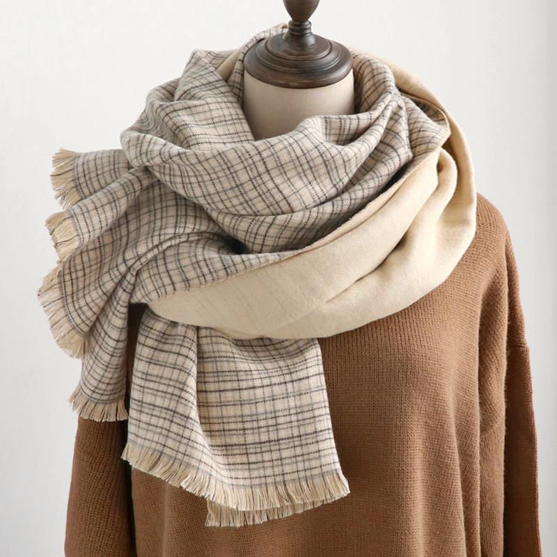 cachemire de mode comme les femmes un foulard à carreaux chaud châle d'hiver et wrap bandana couverture épaisse long foulard femme pompon