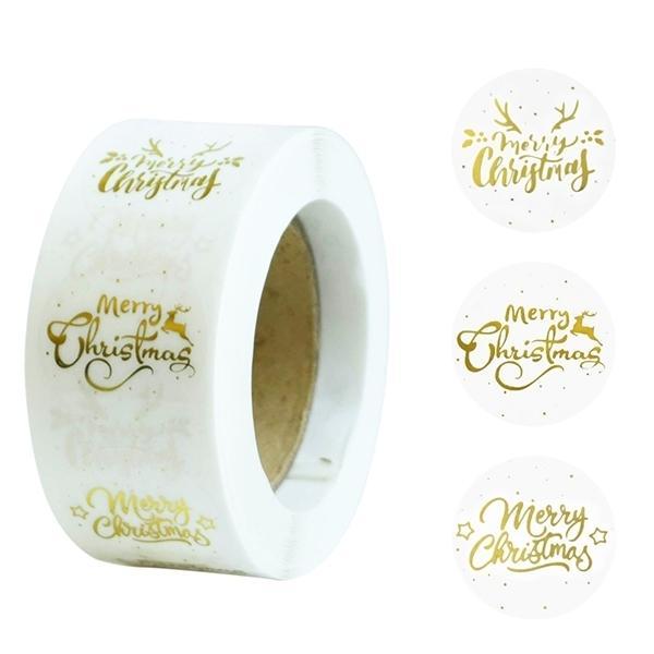 Buste 500Pcs Oro Buon Adesivi Candy Bag di tenuta Label regali di Natale Sticker Box Decorazioni di Natale Capodanno