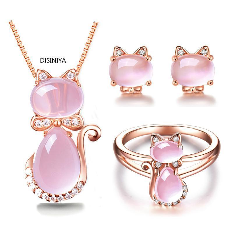 DISINIYA Rose Gold Cor CZ cristal Ross Quartz rosa Opal Brincos Colar e Anel Conjunto de jóias para o gato bonito de jóias Mulheres