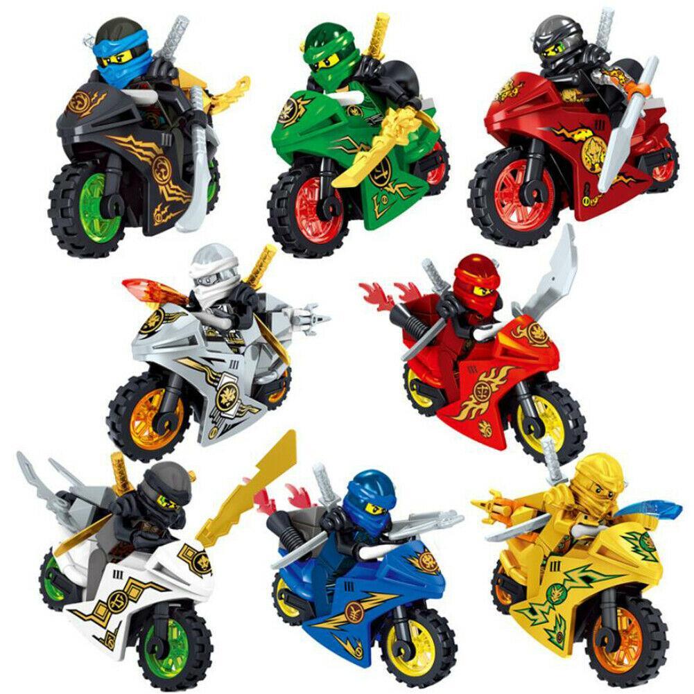 8 adet Ninjago Motosiklet Seti Minifigures Ninja Mini Rakamlar Blokları Oyuncaklar 24 adet Ninja Yapı Taşları Oyuncaklar Hediye 1008