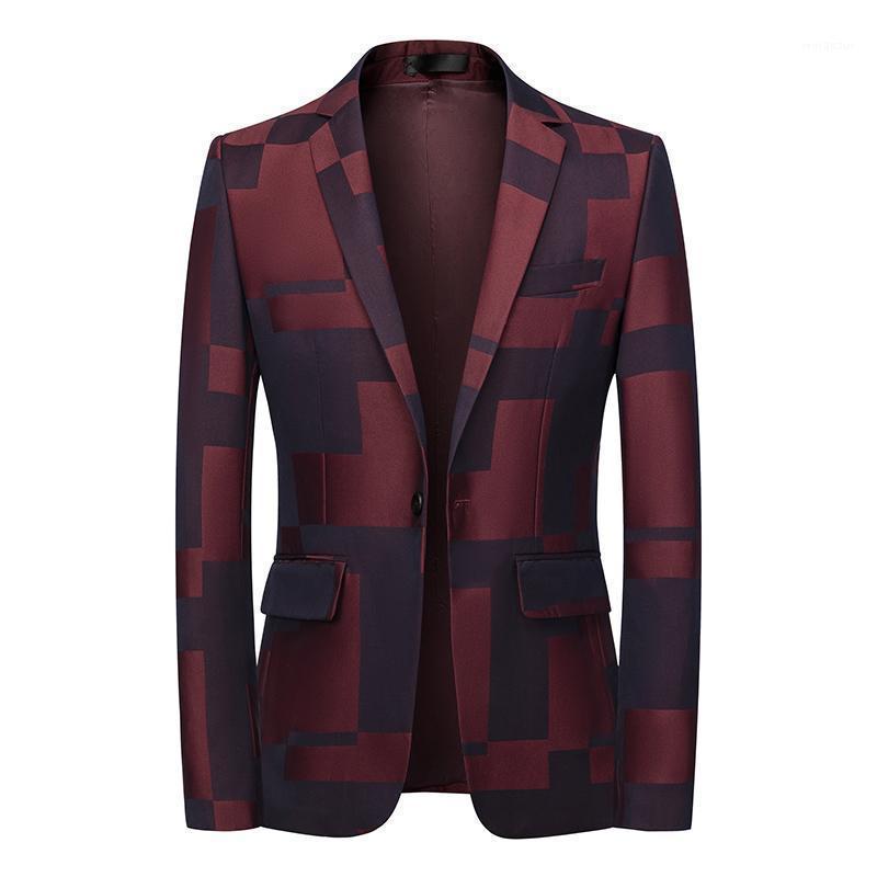 Tide Mens Slim Fit Black Balzer Цвет блока цветной печатной стадии Певица Кнопка Кнопка Платья Куртка Куртка Пиджак Мужчины 5XL 6xL1