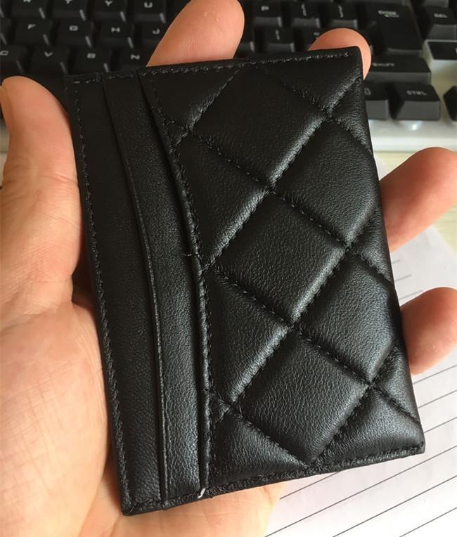 Excelentes proprietários de cartão negro Homens Mulheres Lambskin Cartão Titular Ouro Prata Hardware de Couro Mini Titular do Cartão de Crédito com Caixa