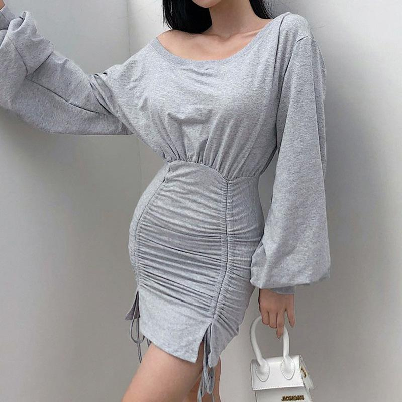 Sexy Donne Grigio Grigio Coulisse Split Lantern Sleeve Dress Casual Dress Casual New Slim Hip Dress Size S-L