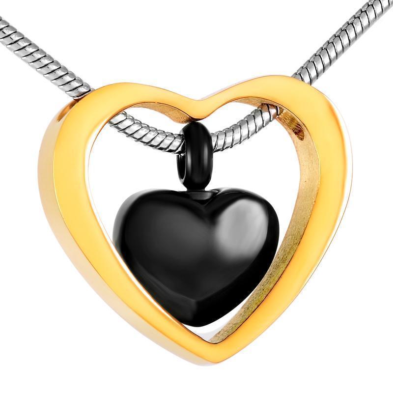 Catene IJD8078 acciaio inox doppio cuore cremazione gioielli souvenir collana per ceneri urn keepsake Memorial gioielli1