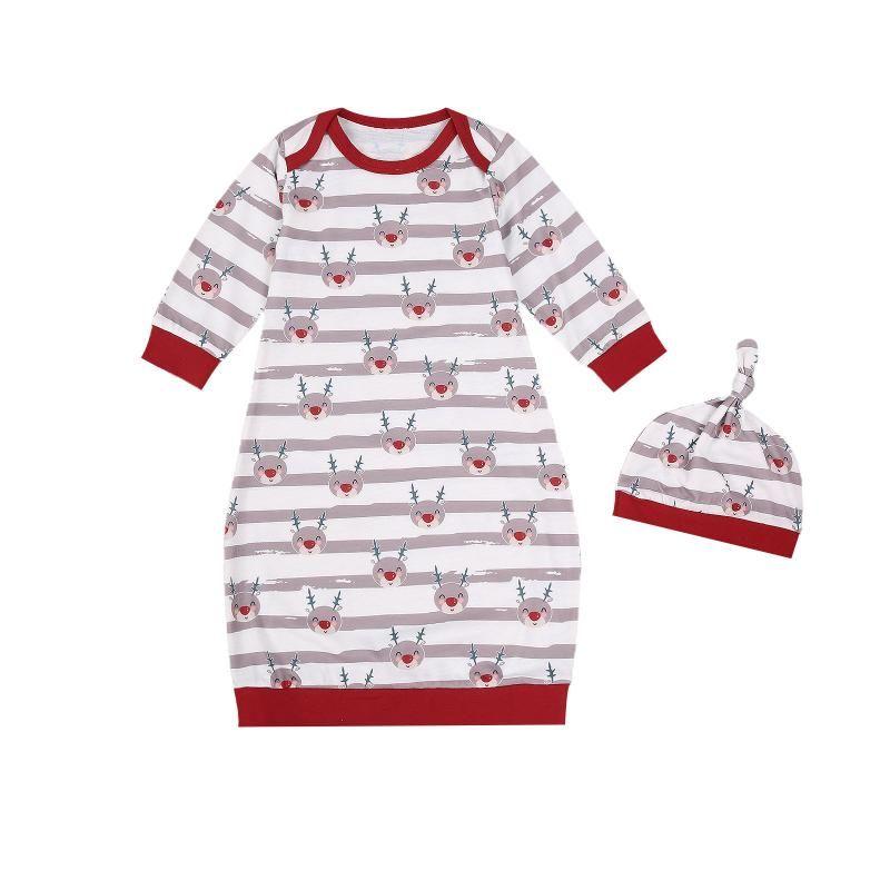 Niño bebé bebé niña niño dormir ropa de dormir Set Hat 2pcs primavera otoño manga larga cuello redondo ropa ropa ropa ropa