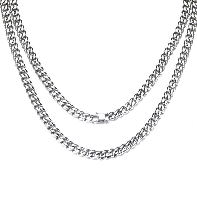 Colar homens de aço inoxidável hip hop rocha colar cadeia longa ligação cadeias colares jóias no pescoço presentes para macho atacado