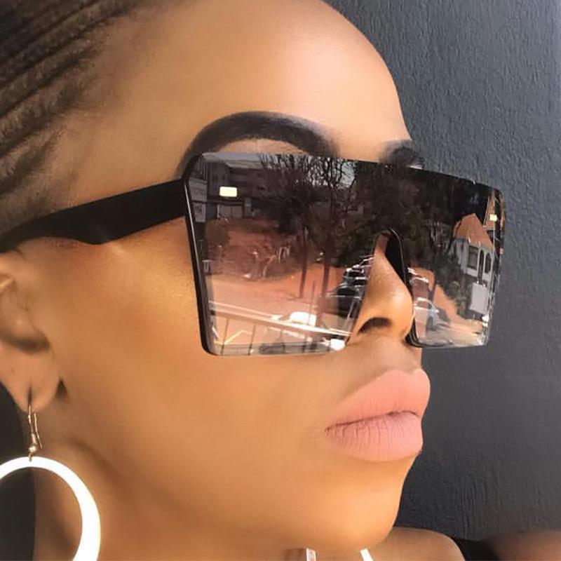 Lunettes de soleil Square surdimensionnées Hommes Femmes Voyage Voyage Gradient Lens Lentilles Sunes Sun Lunettes Hommes Big Black Cadre Lunettes 2020 été U Eefx