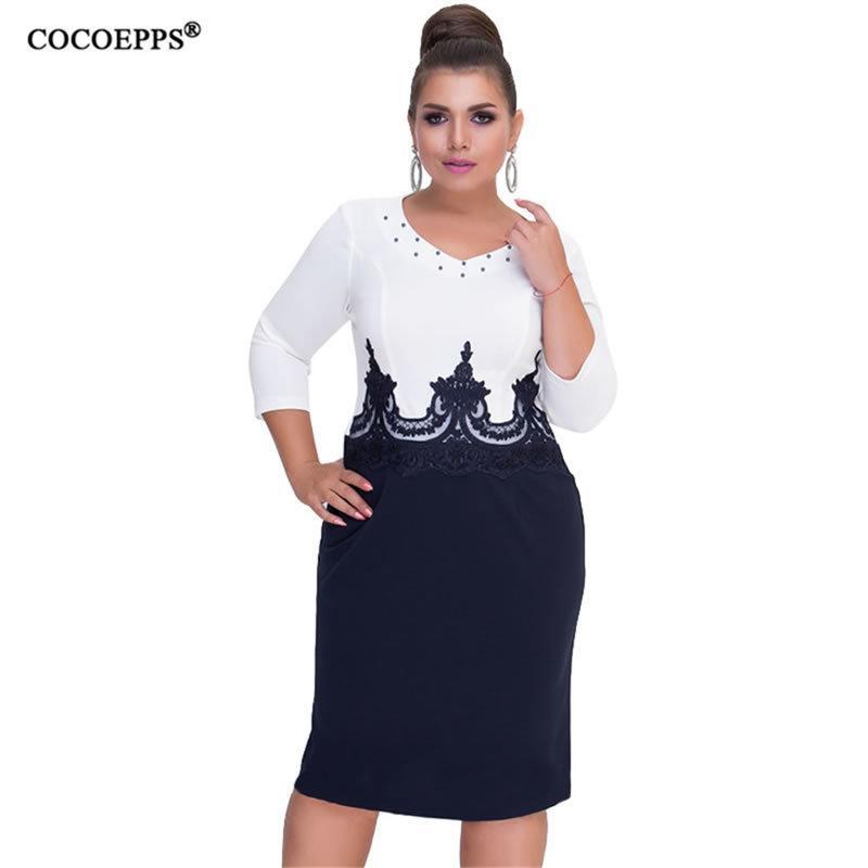 Cocoepps Pizzo Donna Autunno Vestito aderente grande di formato di inverno della signora Patchwork Ufficio di lavoro Abiti casual 6XL Plus Size Abbigliamento Donna Y200930