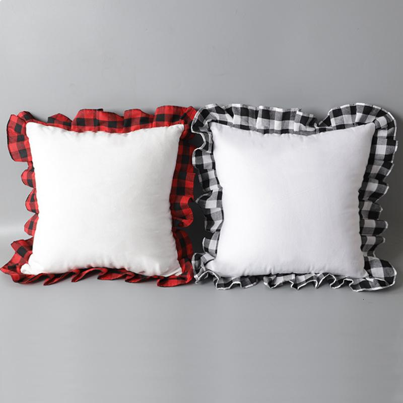 Blank Sublimation Fodera Creativo Trasferimento termico Creativo FAI DA TE Peluche Pillow Case Scottish Lattice Edge Cuscino Cuscino Coperchio 52 * 52cm A09