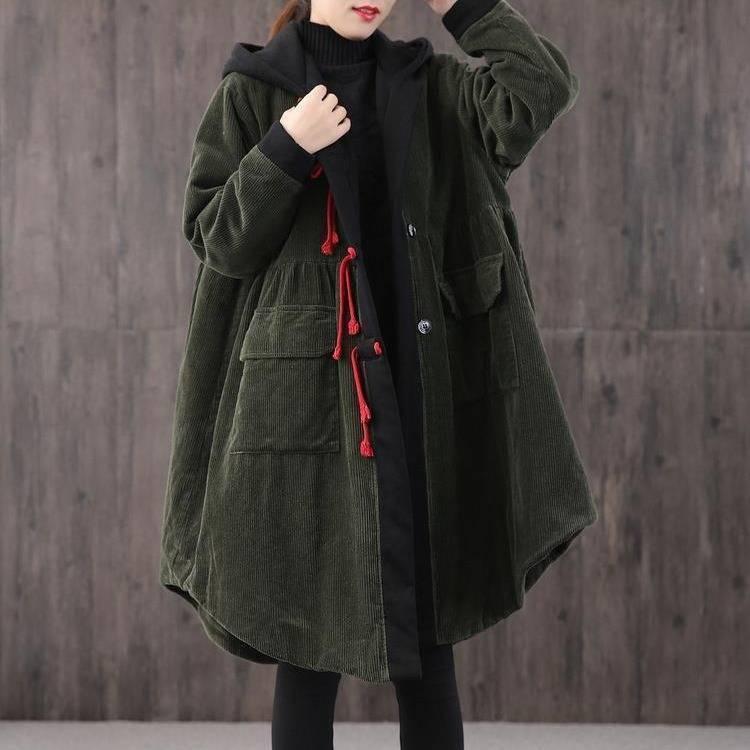Женщины Вельвет пальто зимы Толстовки Длинные куртки Vintage юбка с длинным рукавом Лоскутная Outwear с капюшоном Теплое пальто Плюс Размер ветровки 201017