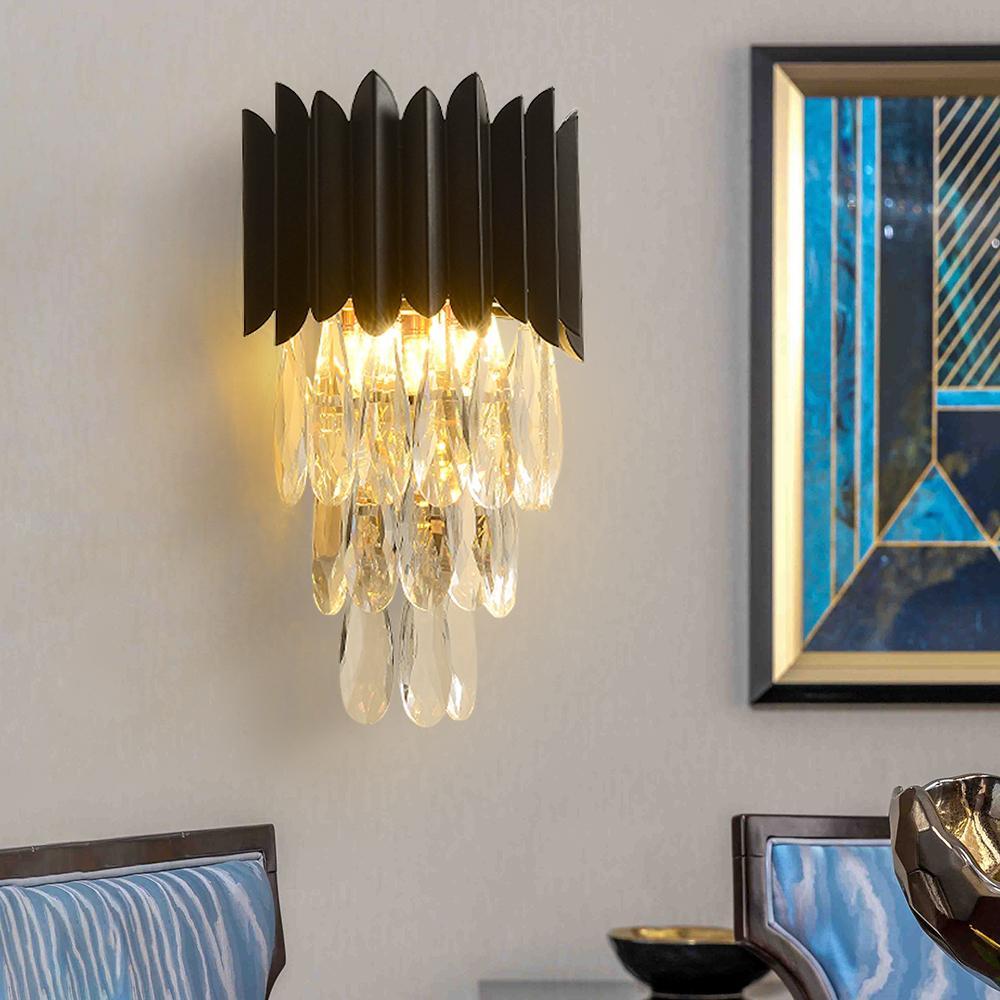 Lámpara de pared de cristal de lujo sala de estar dormitorio paredes de paredes de paredes de pared negro de metal negro