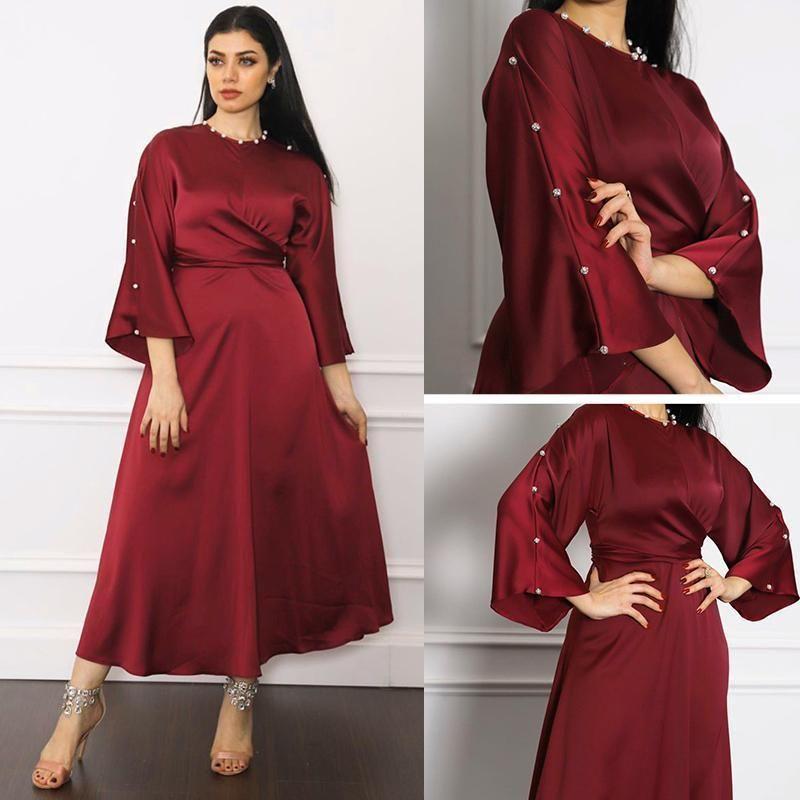Vetement Femme Moda musulmana Abaya Dubai Turquía Hijab Hijab Kaftan Robe Vestido satinado Abayas para mujer Islam Ropa de Moda Musulmana1