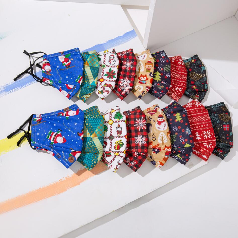 Maschera di Natale Maschere in cotone lavabile riutilizzabile per bambini e adulti Cover per la bocca Xmas Cartoon maschera viso maschera partito Designer maschera decorazione