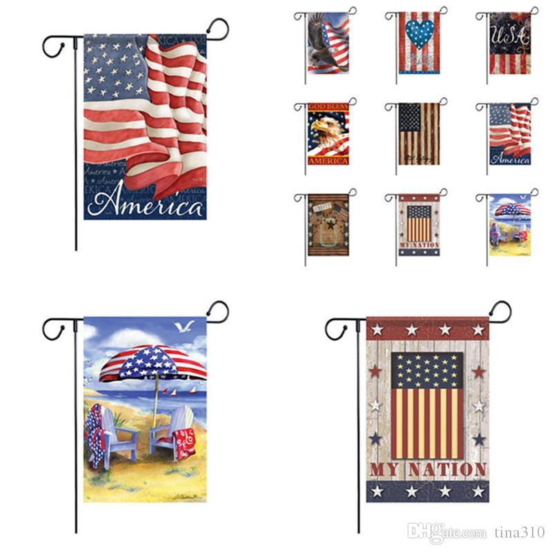 9 Color American Garden Bandera Colorido Impresión Bandera Feliz American Lino Tela Jardín Bandera Jardín Decoración 120pcs T1I2519