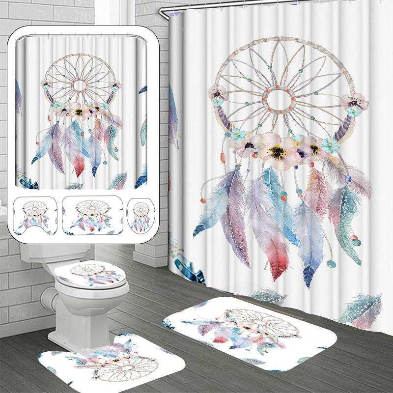 4pcs 현대 3D 인쇄 dreamcatcher 샤워 커튼 후크 방수 목욕 커튼 후크 안티 슬립 화장실 커버 욕실 mats1