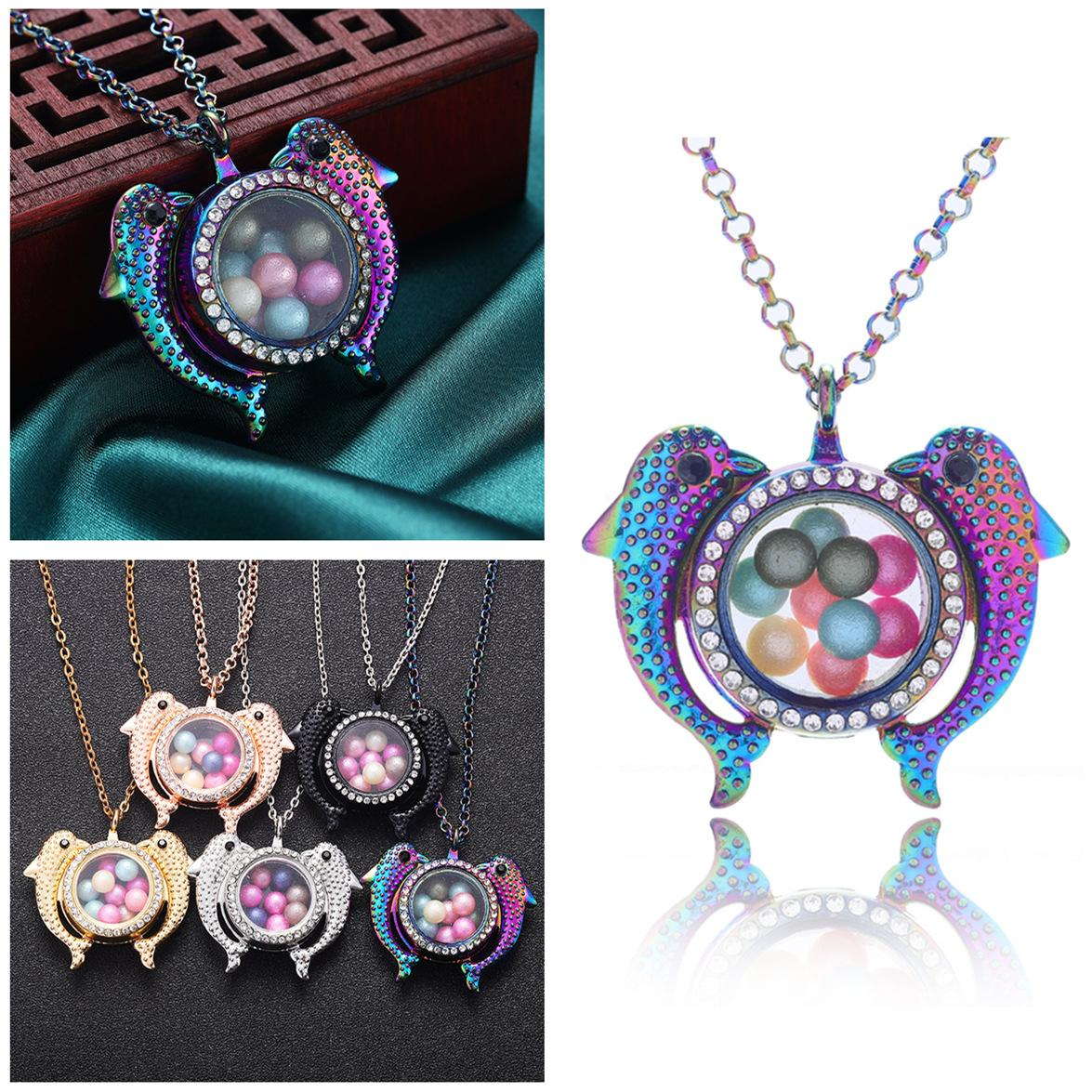 Popular DIY color diamond lovers dolphin can open magnet pendant phase Box pearl lockets Necklace Gift Pendant