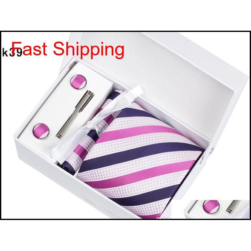 50 Renkler Kalite Erkek Boyun Kravat Set Düğün Bağları Kravat Klipleri Kol Düğmeleri Hanky Hediye Kutusu Moda Business S Qylupo HOMES2007