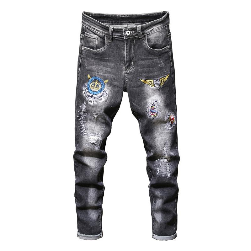 Sokotoo Hommes Badge Patch Design Grey Black Jeans Patchwork Brodé Brodé Stretch Denim Pants