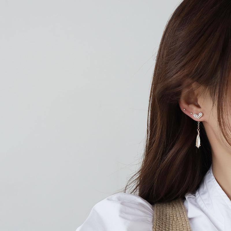 Gioielli di moda della Corea Un orecchino a due indossamento orecchini lunghi orecchini strass per donna festa festa quotidiano Elegante orecchino
