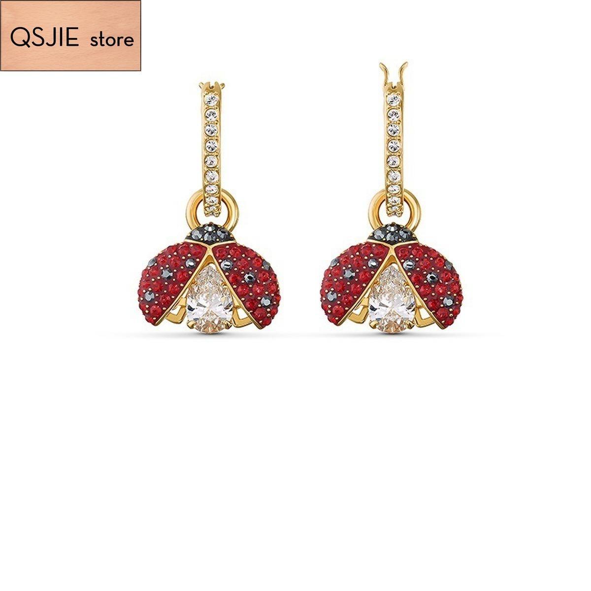QSJIE Yüksek Kalite SWA Yeni Güzel Altın Yedi Yıldız Ladybug Shining Kalp Küpe Büyüleyici Moda Takı