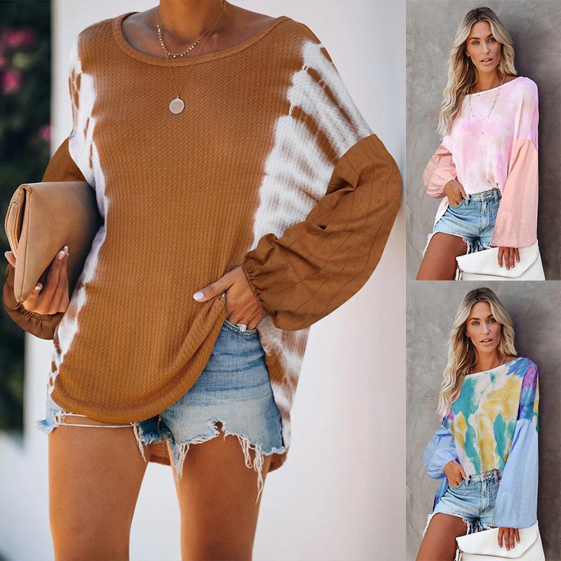 O el nuevo estilo del batwing del cuello de la manga causal de tinte lazo mujeres sueltan el suéter del remiendo de la manga de tela sudadera camisas dama