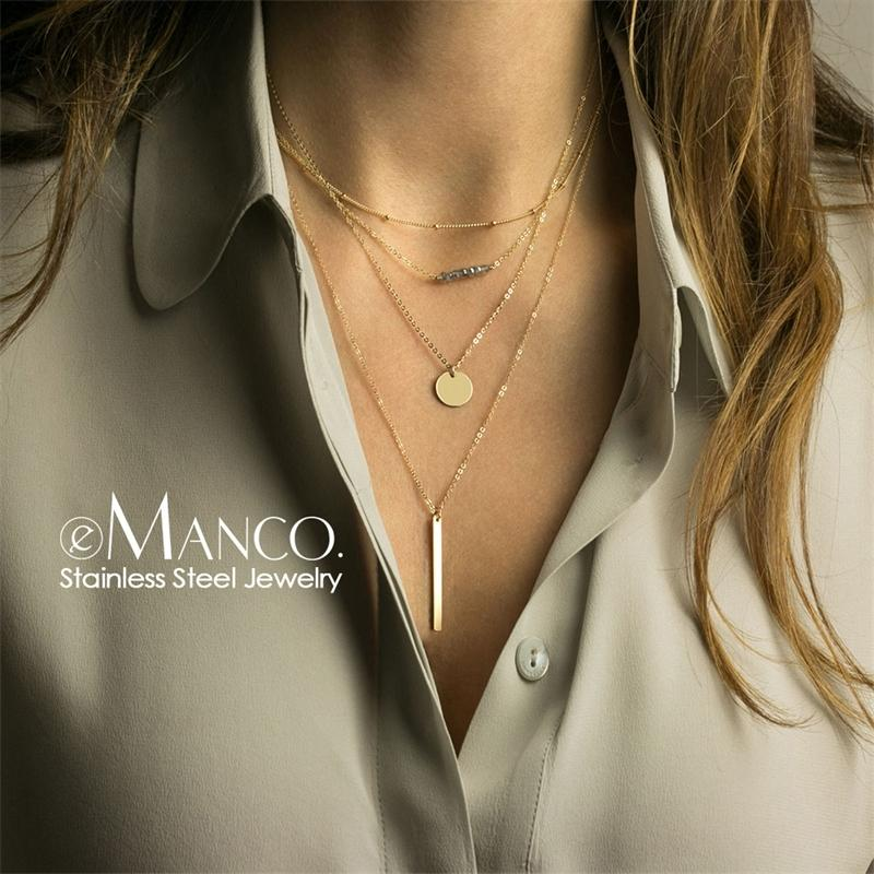 e-Manco muliti layered crystal choker necklacewomen stainless steel necklace for women pendants necklace set jewelry Y200323