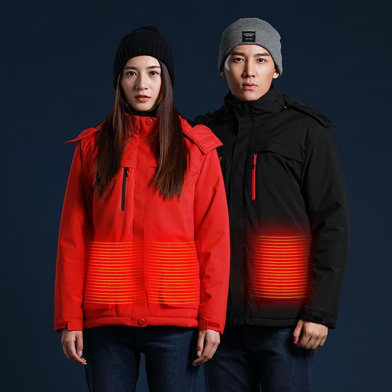 Feer es un desgaste inteligente de esquí, calefacción eléctrica ropa de algodón algodón chaqueta acolchada de algodón masculino de calefacción USB chaqueta con capucha