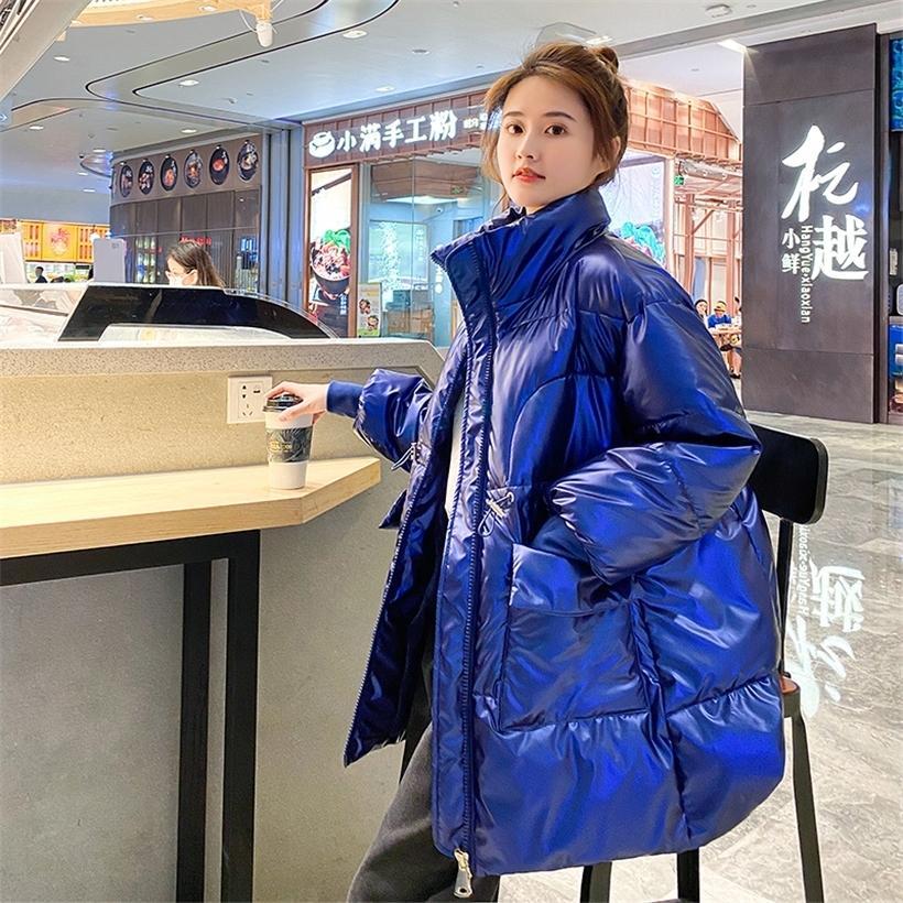 Long Parkas Femme Hiver Stand Collier Surdimensionné Femmes Vestes Femmes Solides Épaisses Grandes poches Lâche Opond Casual Femme 201210