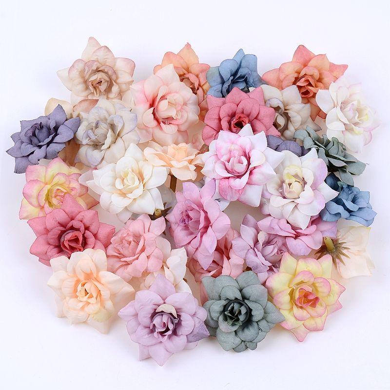 50PCS/LOT 4.5CM Mini Rose Artificial Flower Head Wedding Party Decoration DIY Wreath Scrapbook Gift Graft Needlework Fake Flower