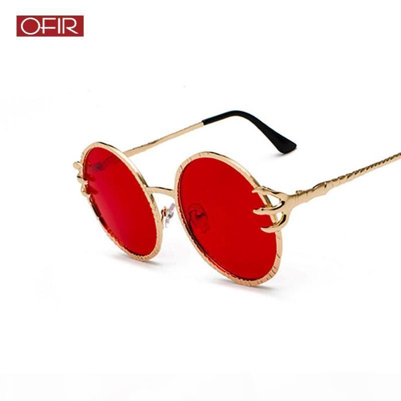 wholesale Creative Metal Round Sunglasses Ocean Glasses Flawless Glasses Frame Men Women Red Sun Glasses Eagle Paw Mirror Legs Design