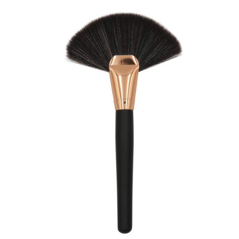 Maquiagem Fan Big 1pc escova Professional Brushes metal Longo madeira pintura Handle Concealer Blush Pó solto Make Up Tools Preto