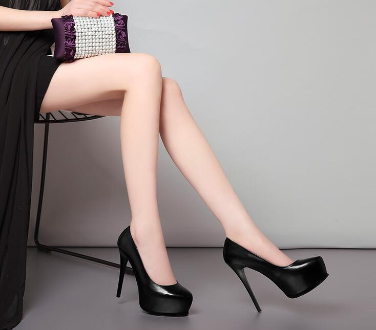 Leather super high shoes heels waterproof platform women's Black heel 13cm wedding shallow mouth single 008