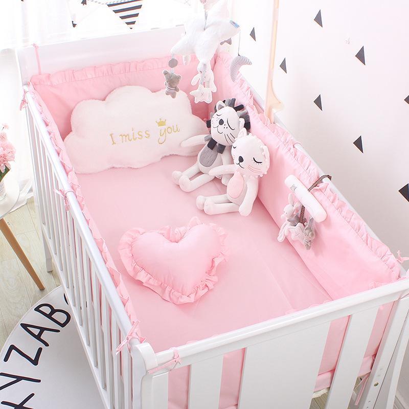 Prenses Pembe 100% Pamuk Bebek Yatak Seti Yenidoğan Bebek Beşik Yatak Seti Kız Erkek Yıkanabilir Cot Bed Keten 4 Tamponlar + 1 Sayfa 201210