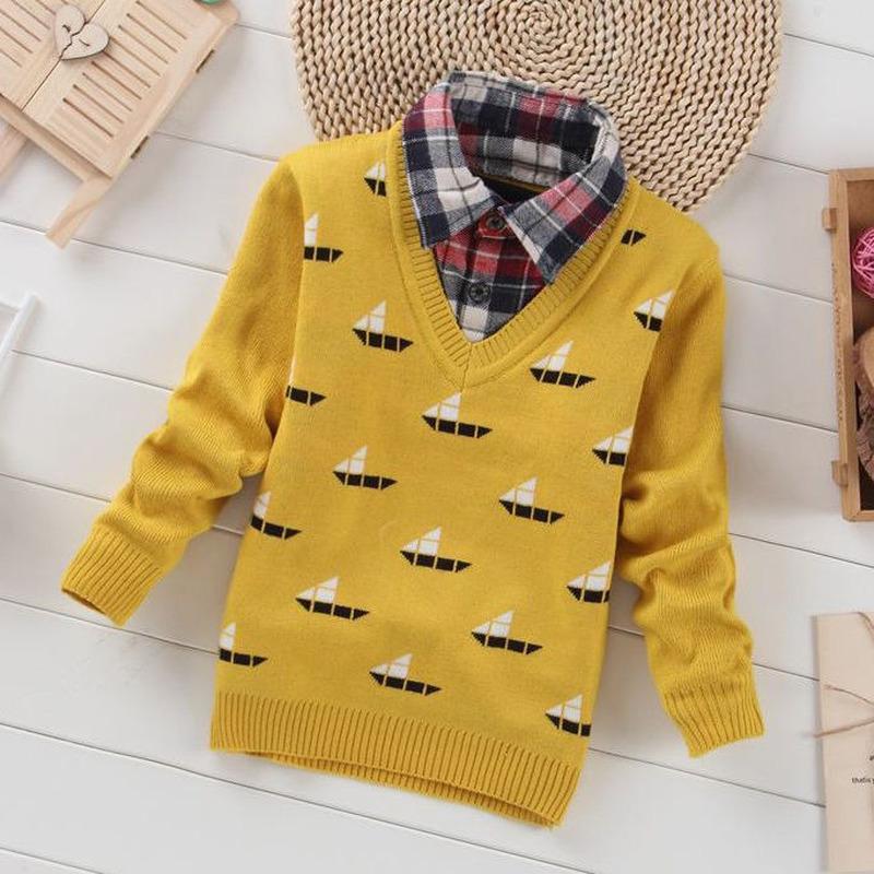 Enfants Garçons Pull Automne Hiver en tricot de coton tout-petits Vêtements enfants Pull pour les garçons 3-10 ans d'extérieur __gVirt_NP_NN_NNPS<__ Y200919 warm