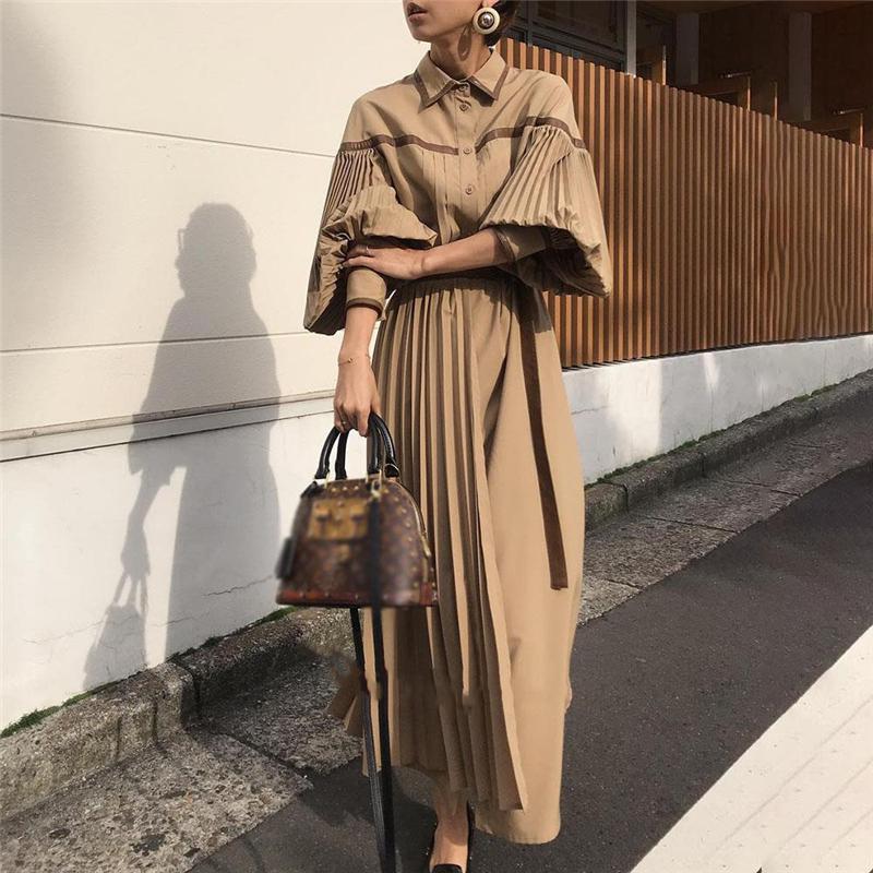 2021 Vintage Lantern Long Sleeve Pleated Women Dresses Fashion Lace Up Patchwork Female Dress Single-breasted Vestidos femme